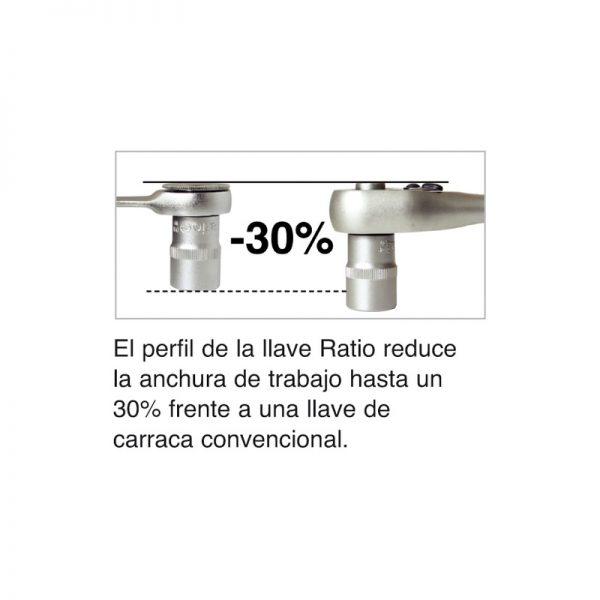 """Adaptador de llave fija de 19 mm para vasos de 1/2"""" RATIO"""