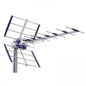 De fácil y rápido montaje sin herramientas gracias a la tecnología clik clak. La antena AXIL está compuesta por 11 elementos. Su instalación está indicada para la recepción digital terrestre DV3/T2. Dispone de banda UHF, 21-49 canales, ajuste de polarización H-V y ajuste de inclinación para mejor la recepción de la señal. Además incorpora un filtro LTE anti 5G y destaca por la recepción en imágenes en 4K ultra HD. Se presenta en una caja.